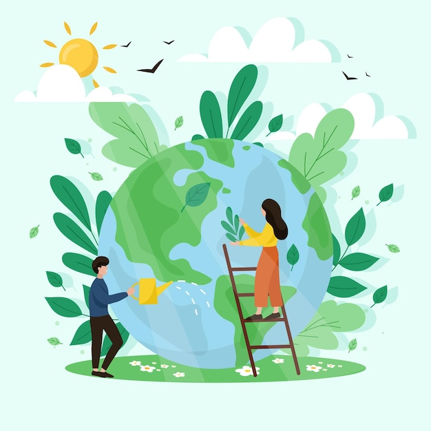 Sauvez Le Concept De La Planète Vecteur gratuit