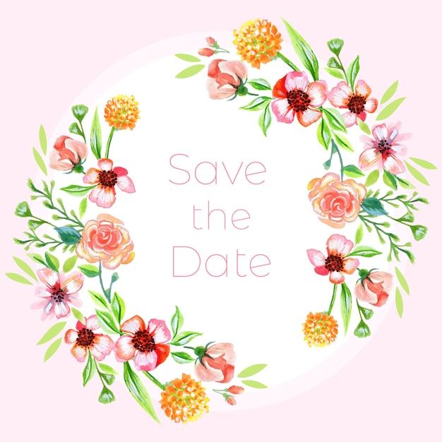 Sauvez la date riche fond floral d'aquarelle Vecteur Premium