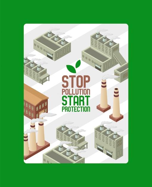 Sauvez l'écologie, protégez l'affiche environnementale. arrêtez la pollution, démarrez la protection. usine pipe ville avec de la fumée. smog industriel Vecteur Premium