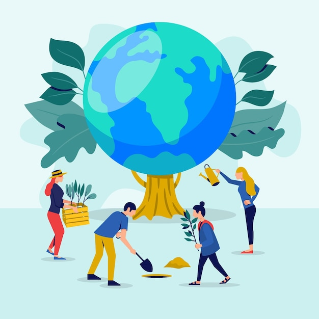 Sauvez L'illustration Du Concept De Planète Vecteur gratuit