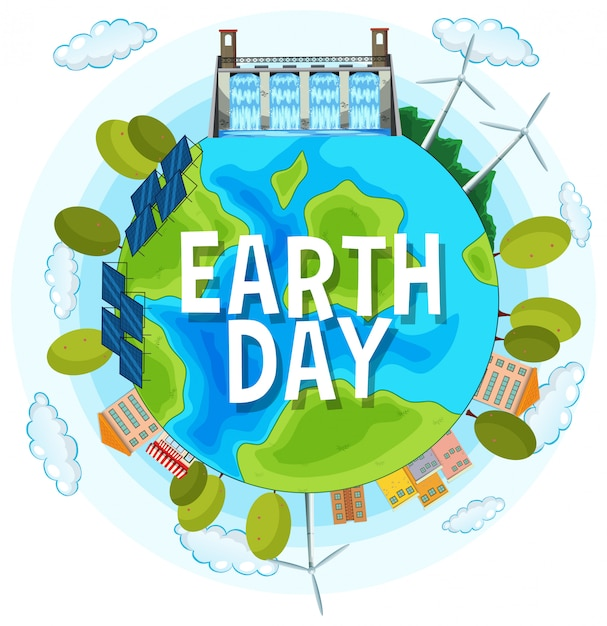 Sauvez Le Jour De La Planète Terre Vecteur gratuit
