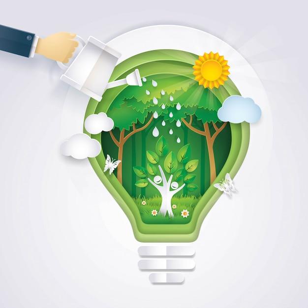 Sauvez le monde, main d'homme d'affaires arrosant l'icône de l'arbre s'élevant dans l'ampoule abstraite backg Vecteur Premium