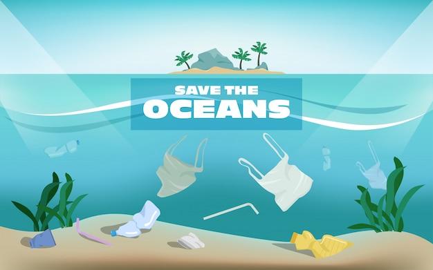 Sauvez les océans de pollution plastique déchets sous l'eau de la mer. Vecteur Premium