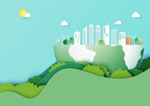 Sauvez le style d'art de la terre et de la ville écologique concept papier Vecteur Premium