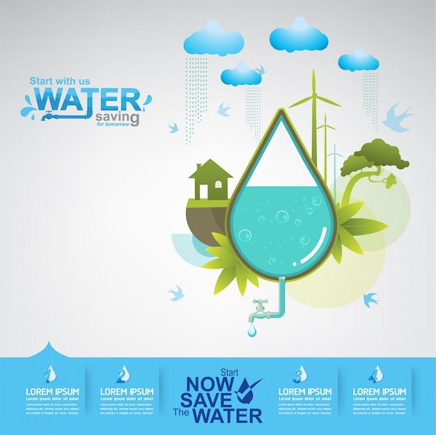 Save the water concept l'eau, c'est la vie Vecteur Premium