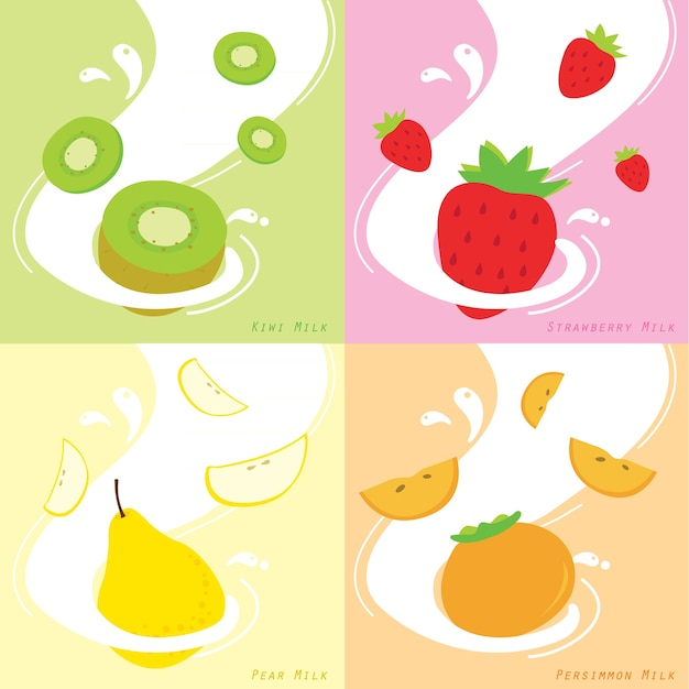 Saveur de lait kiwi fraise persimmon poire vecteur Vecteur Premium
