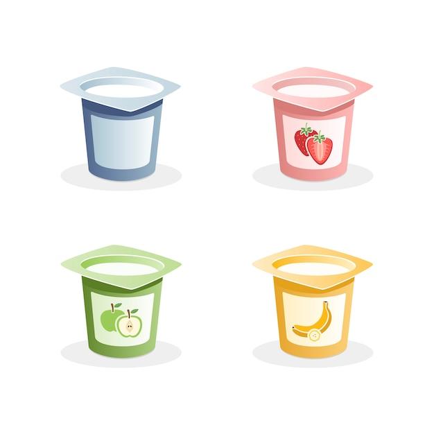 Saveurs de yaourt à la cuillère à l'intérieur sur fond blanc Vecteur Premium
