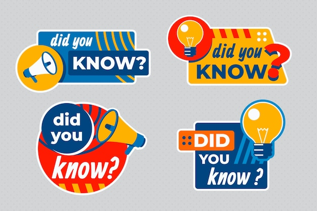 Saviez-vous Que La Collection De Badges Vecteur Premium