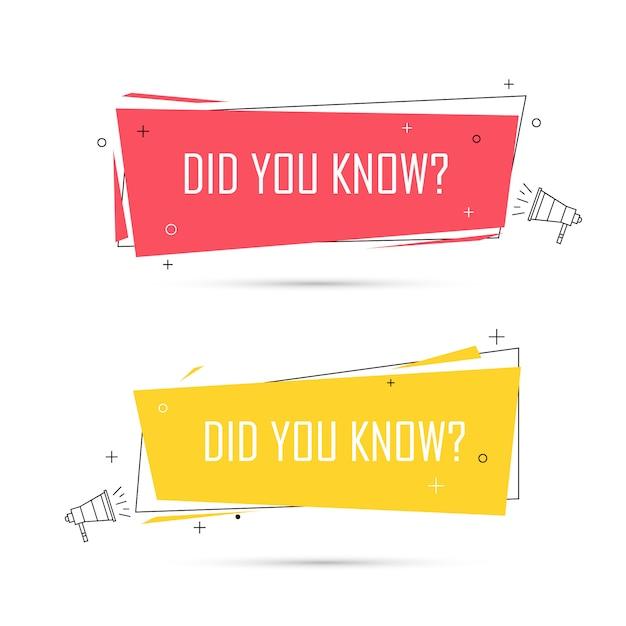 Le Saviez-vous? Question Bannières Boutons Icons Set Vecteur Premium