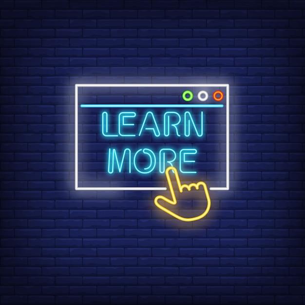 En savoir plus enseigne au néon Vecteur gratuit