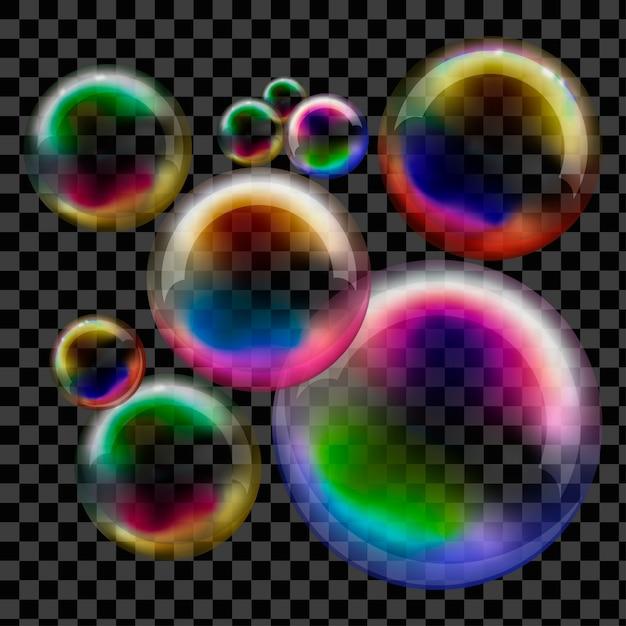 Savon à bulles transparent. sphère de vecteur. Vecteur Premium