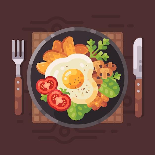 Savoureux petit déjeuner plat illustration vectorielle assiette avec omelette, tomates, pommes de terre sautées, m Vecteur Premium