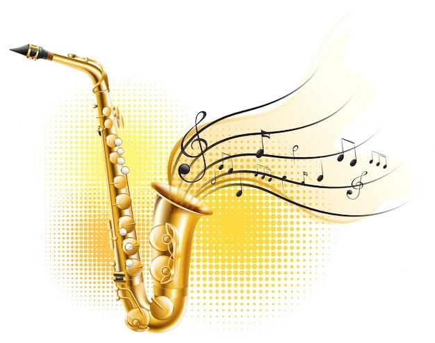 Saxophone classique avec des notes de musique Vecteur gratuit