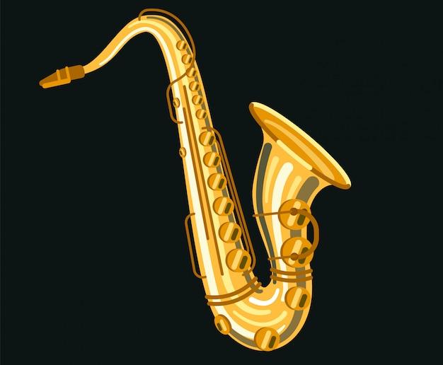 Saxophone instrument de musique Vecteur Premium