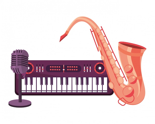 Saxophone et microphone Vecteur Premium