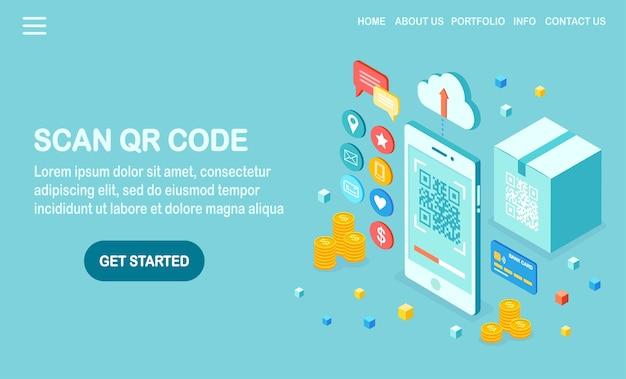 Scanner Le Code Qr Vers L'illustration Du Téléphone Vecteur Premium