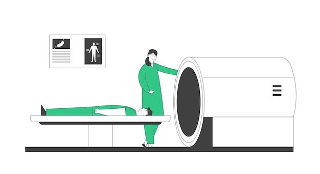 Scanner Irm à L'hôpital. Technologie Numérique D'imagerie Par Résonance Magnétique Dans Le Concept De Diagnostic Médical. Soins De Santé Médicaux, Médecin Et Patient En Clinique. Vecteur Premium