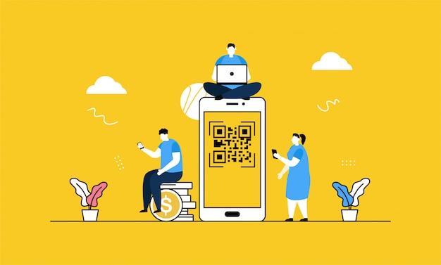 Scannez la bannière de code qr Vecteur Premium