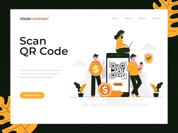 Scannez La Page De Destination Du Code Qr Vecteur Premium