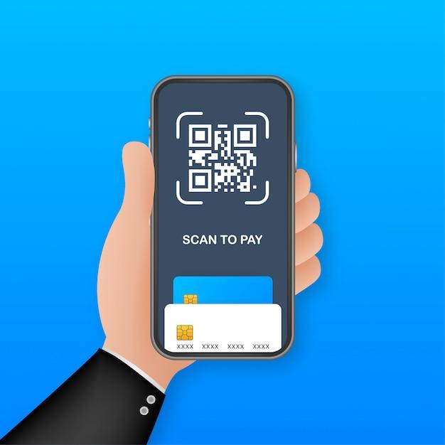 Scannez Pour Payer. Smartphone Pour Scanner Le Code Qr Sur Papier Pour Plus De Détails, De Technologie Et De Concept D'entreprise. Illustration. Vecteur Premium