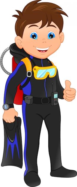Scaphandre plongeur garçon Vecteur Premium