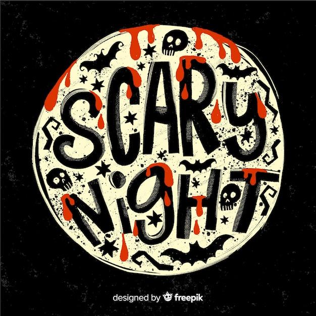 Scary night lettrage sur une pleine lune Vecteur gratuit