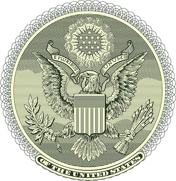Sceau d'aigle vectorisé à partir d'un billet d'un dollar Vecteur Premium