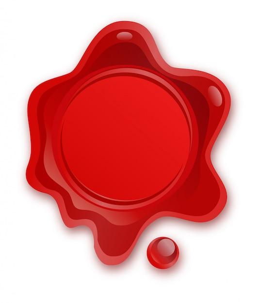 Sceau De Cire Rouge Isolé Sur Fond Blanc. Timbre De Cire De Sceau Rétro Et Ancien. Protection Et Certification, Garantie Et Label De Qualité. Accords Commerciaux. Affranchissement, Courrier. Vecteur Premium
