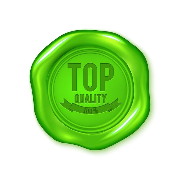 Sceau de cire de vecteur vert isolé sur blanc Vecteur Premium