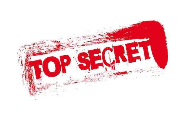 Sceau rouge avec texte top secret sur le vecteur de fond blanc Vecteur Premium