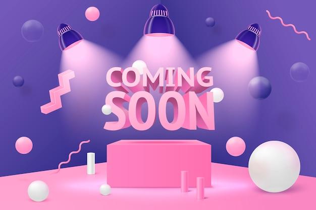 Scène abstraite réaliste de mur d'angle 3d, à venir bientôt sur le podium et les boules roses, blanches et violettes et les objets. Vecteur Premium
