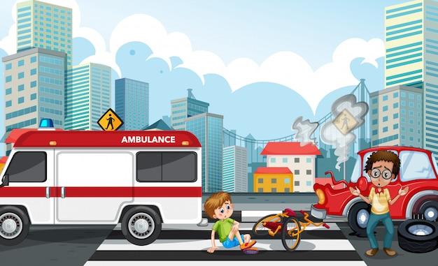 Scène d'accident avec accident de voiture dans la ville Vecteur gratuit
