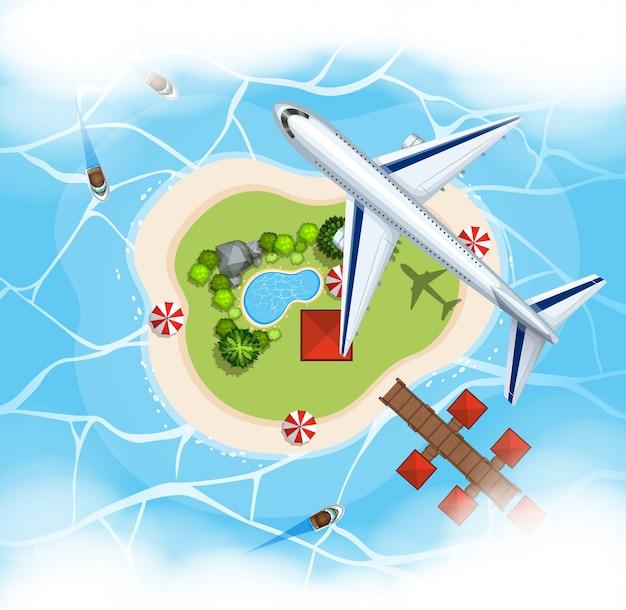 Scène aérienne avec avion survolant l'île Vecteur Premium