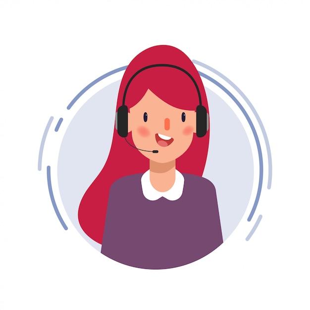 Scène d'animation personnage de femme d'affaires dans le centre d'appels. Vecteur Premium