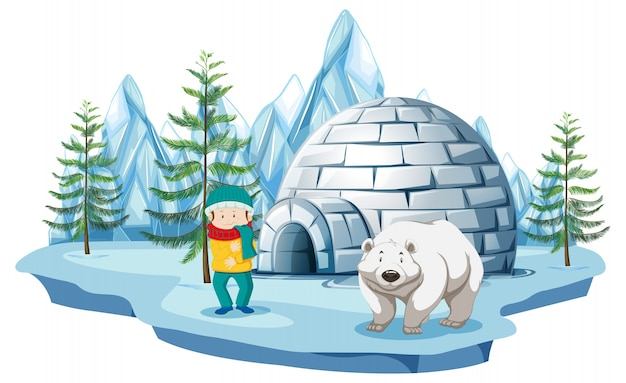 Scène arctique avec un garçon et un ours polaire par igloo Vecteur Premium