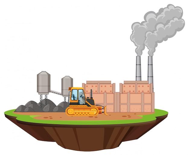 Scène Avec Bâtiments D'usine Et Bulldozer Sur Le Site Vecteur gratuit