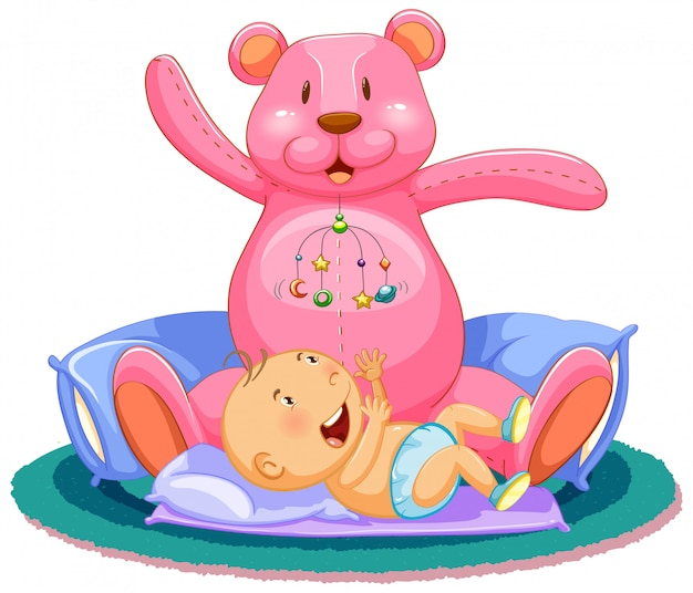 Scène Avec Bébé Dormant Dans Son Lit Avec Un Ours En Peluche Géant Vecteur gratuit