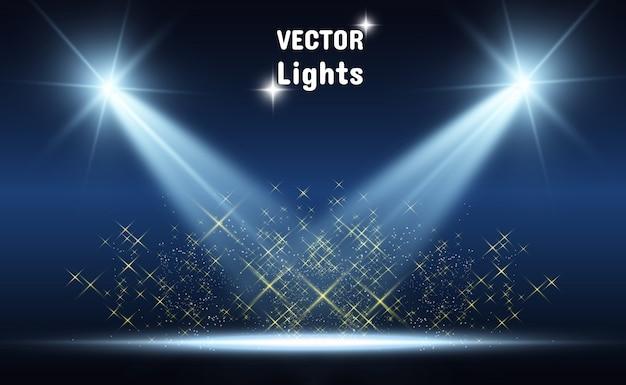 Scène Blanche Avec Des Projecteurs. Illustration Vectorielle. Vecteur Premium