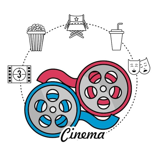 Scène de bobine et bande de film avec des icônes de court métrage Vecteur Premium
