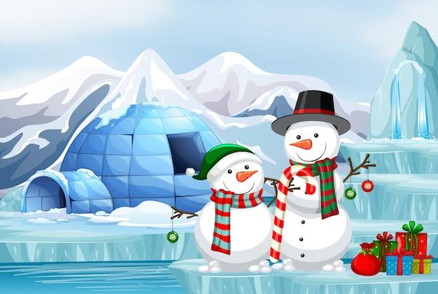 Scène avec bonhomme de neige et igloo Vecteur gratuit