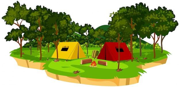 Une scène de camping isolée Vecteur Premium