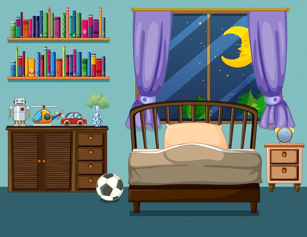 Scène de chambre avec des livres et des jouets Vecteur gratuit