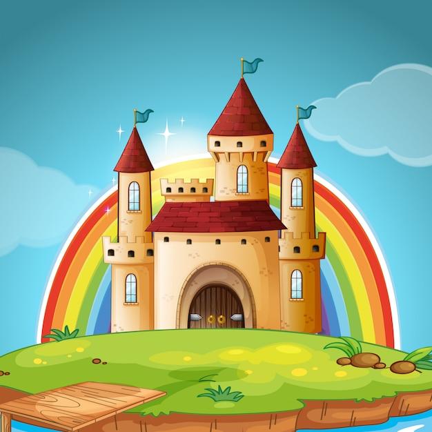 Une scène de château médiéval Vecteur gratuit