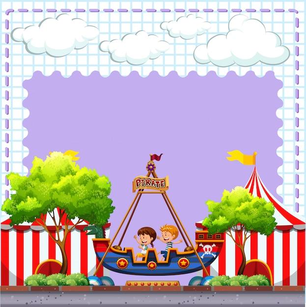 Scène de cirque avec deux enfants à cheval Vecteur gratuit