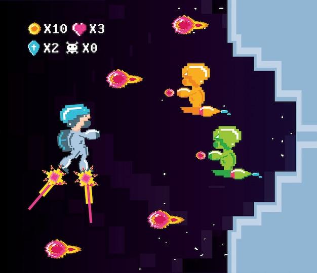 Scène classique du jeu vidéo avec des guerriers Vecteur Premium