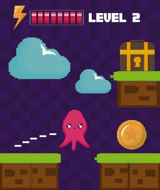 Scène classique de jeu vidéo avec coffre au trésor Vecteur Premium