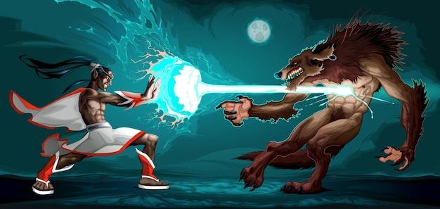 Scène de combat entre le elfe et le loup-garou illustration vectorielle de fantaisie Vecteur gratuit