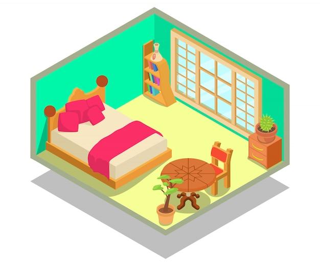 Scène de concept de dortoir Vecteur Premium