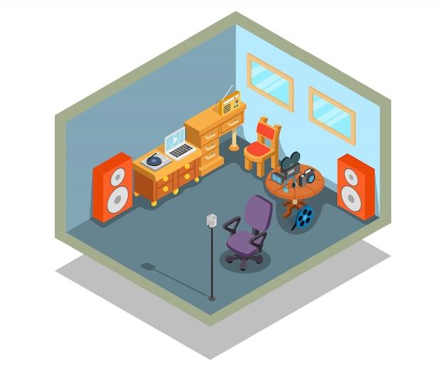 Scène de concept de montage vidéo Vecteur Premium