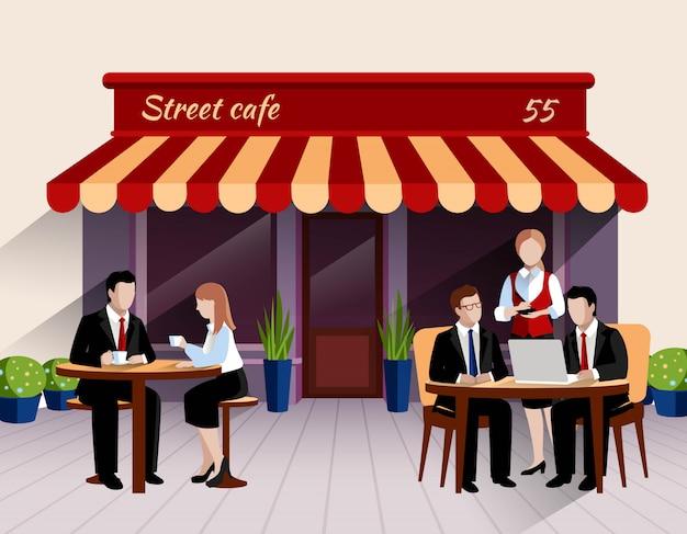Scène de déjeuner d'affaires terrasse terrasse café avec serveuse prenant la commande bannière plate Vecteur gratuit